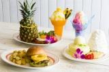 パイナップルを使った新メニューと5月に発売され好評のレインボーかき氷