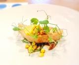 魚料理『ココットで焼き上げた「カルピス」仕込みの西京味噌焼き(サーモンとコーン)』