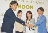 NHK『ロンドン五輪』キャスターに決定した(左から)竹林宏、鈴木奈穂子、廣瀬智美、武田真一アナウンサー (C)ORICON DD inc.