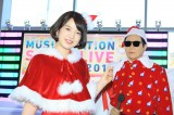 12月25日放送『ミュージックステーション スーパーライブ』への意気込みを語った弘中綾香アナウンサーと「タモサンタ」(C)テレビ朝日