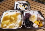 左:豆花 2号L(700円)、上:仙草オリジナルL(850円)、右:芋園4号L(800円)