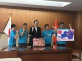 間寛平の福島県の内堀雅雄県知事表敬訪問の模様