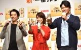 『KIRIN 新・一番搾り』CM発表会に出席した(左から)堤真一、石田ゆり子、鈴木亮平 (C)ORICON NewS inc.