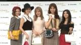 CM発表会に出席したE-girls(左から山口乃々華、楓、藤井夏恋、佐藤晴美、SAYAKA) (C)ORICON NewS inc.