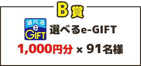 B賞 選べるe-GIFT 1,000円分×91名様