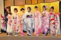 2014年のAKB48グループ 成人式記念撮影会に出席した<br> SKE48の(左から)阿比留李帆、鬼頭桃菜、松本梨奈、木下有希子、高木由麻奈、竹内舞、犬塚あさな