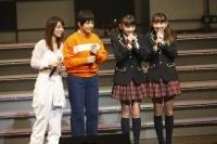 『リクエストアワーセットリストベスト200 2014』 3日目MCの模様<br> (左から)大島優子、島田晴香とドラフト生の後藤萌咲、下口ひなな