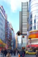 ゴジラヘッドの遠景。実際に歌舞伎町に現れたように見える?
