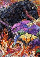現代アーティスト・村上隆が作画した『ゴジラ対エヴァンゲリオン』コラボビジュアル/村上隆(C)2016 Takashi Murakami/Kaikai Kiki Co., Ltd.TM&(C)TOHO CO.,LTD. ?カラー