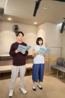 九太・青年期の声を演じる染谷将太と楓を演じる広瀬すずのアフレコの様子