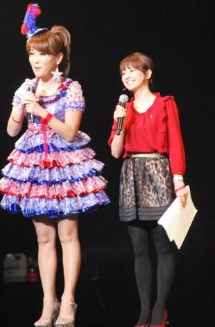『RED RIBBON LIVE 2012』に参加した、はるな愛とTBS田中みな実アナウンサー (C)ORICON NewS inc.