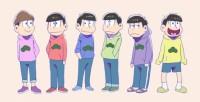 6つ子のパーカー姿 左からトド松、おそ松、カラ松、チョロ松、一松、十四松