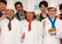 馬場の料理好き芸人としての認知度アップを喜んだロバート(左から)山本博、秋山竜次、馬場裕之 (C)ORICON NewS inc.