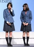 『SoftBank 2017 Spring』の発表会に出席した(左から)広瀬すず、大原櫻子 (C)ORICON NewS inc.