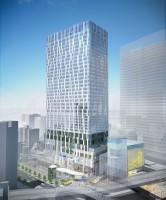 高さ約180メートルの渋谷ストリーム外観 写真右下の低層棟が渋谷ストリームホール