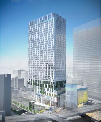 高さ約180メートルの渋谷ストリーム外観 写真右下の低層棟が渋谷ストリームホール(C)東京急行電鉄