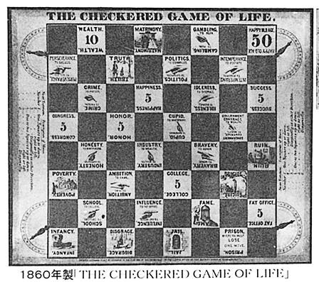 アメリカで発売された『THE GAME OF LIFE』の盤面。日本版『人生ゲーム』の元となった。