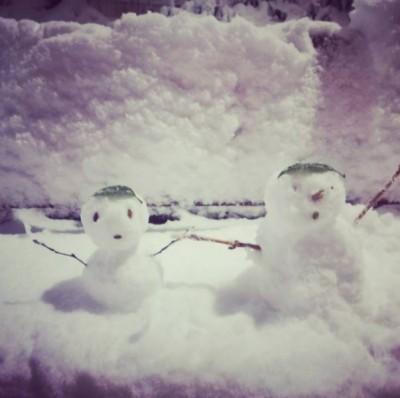 日本では一般的な2段式の雪だるま