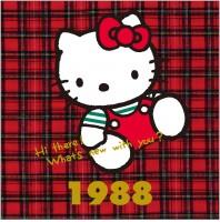 1988年 タータンチェックシリーズ 当時人気の「チェッカーズ」の衣装をヒントに生まれたデザイン。イギリス生まれのキティにはタータンチェックが良く似合う