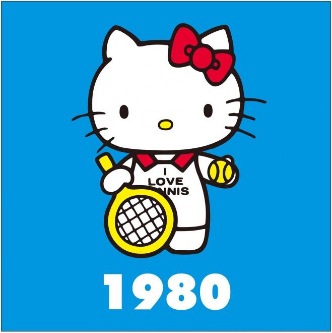 1980年 テニスシリーズ キティは流行にも敏感。当時流行っていたテニスにチャレンジ、テニスウェアで登場!