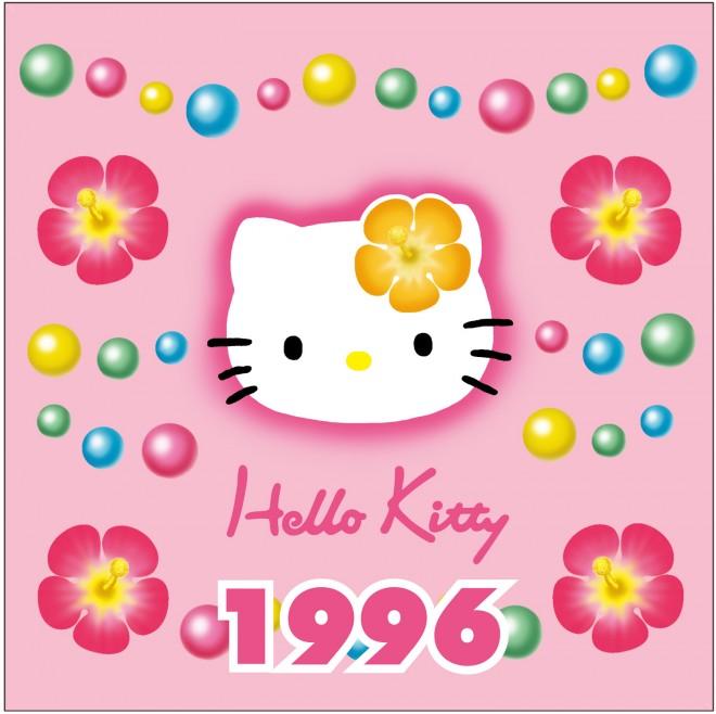 1996年 パールシリーズ ハイビスカスを付けたキティが大流行となり、街ではキティと同じ花を付けた女の子がたくさん。大人にブレイクする火付け役となったデザイン。