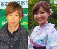 横浜Fマリノスの大津祐樹選手とテレビ朝日の久冨慶子アナ