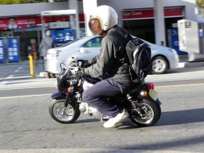 50cc版のモンキー。大人が乗るとやっぱり小さい!