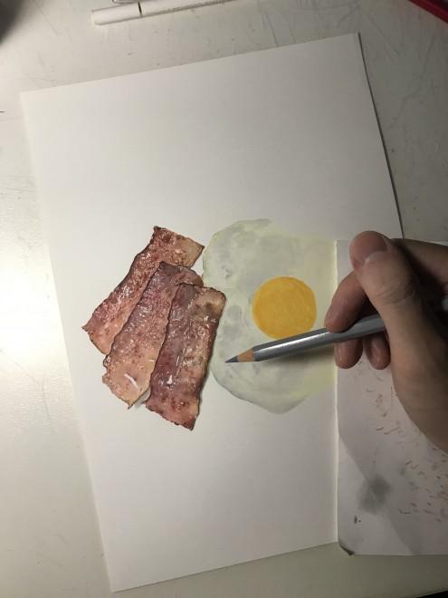 ベーコンエッグ 制作過程
