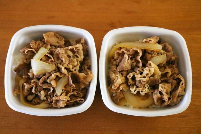 左が「並盛」、右が牛肉の脂身の量を増やした「トロダク」。