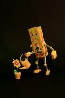 花に水をやる心優しきロボットに