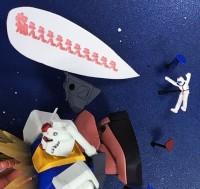 シャアザクのキックで吹き飛ばされるアムロさん/制作:猫マシンガン(C)創通・サンライズ