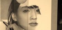 綾瀬はるかの鉛筆画 製作途中(YouTubeよりキャプチャ)