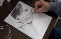 北川景子の鉛筆画 製作途中(YouTubeよりキャプチャ)