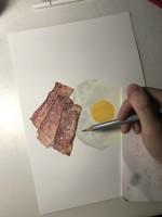 ベーコン目玉焼き 制作過程