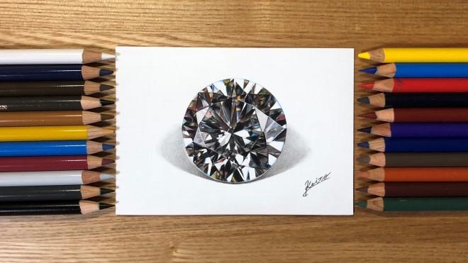 色鉛筆で描いたダイヤモンド・完成!