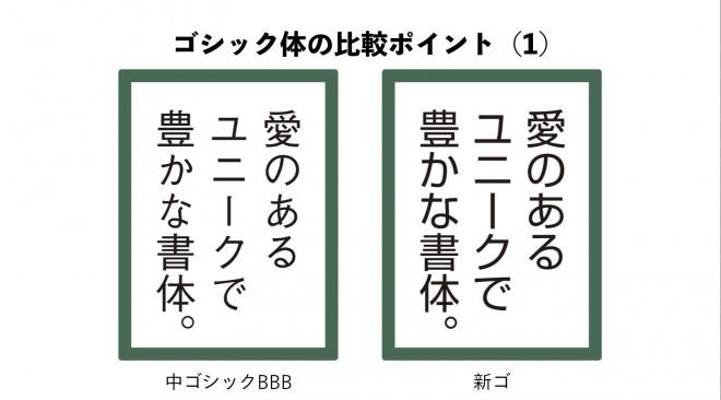 こちらはゴシック体。同じ書体でも、オールドタイプと呼ばれる「かな」の小さな書体と、モダンタイプと呼ばれるかな文字の大きな書体がある