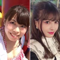目元の整形後(左)、目元・鼻・あごの整形後(右)