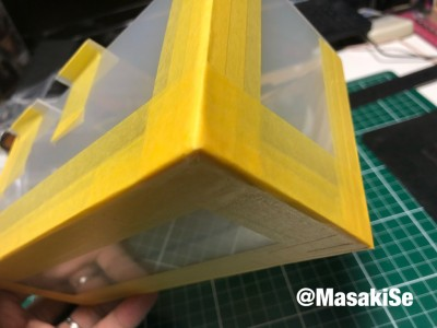 型枠にしっかりとマスキングテープを貼る