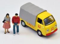トミカラマヴィンテージ02a ガソリンスタンド(シェル)セット専用スバルサンバー、フィギュア2体