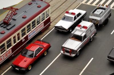 マシンRS、広島電鉄もみじ号と並べると広島ロケ篇が机上に広がる