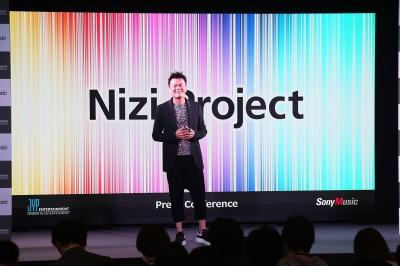 ソニーミュージックとJYPエンターテインメントとの共同事業『Nizi Project』の始動発表会見時のJ.Y.Park