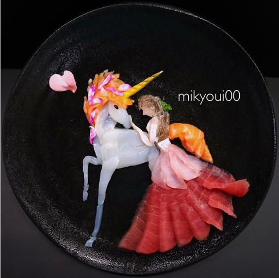 【ユニコーン】 マグロ、サーモン、イカ、カンパチ、キジハタを使用。制作&写真/mikyou