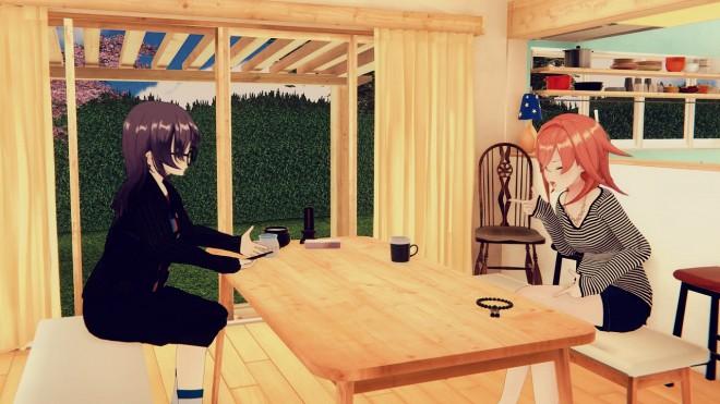 四月一日三樹役を演じる響木アオ(左)と猿楽町双葉の共演シーン