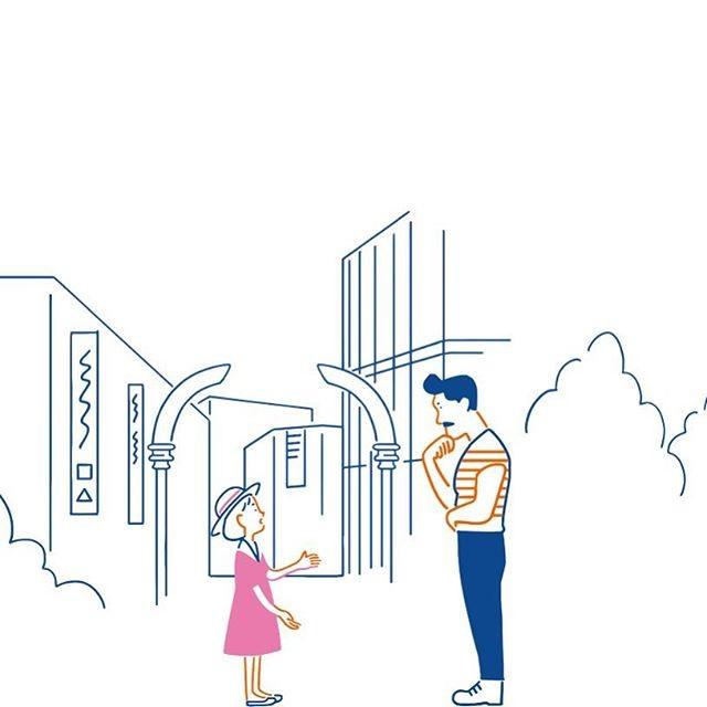 女の子は街の人々にワンちゃんを見ていないか尋ねていきます。