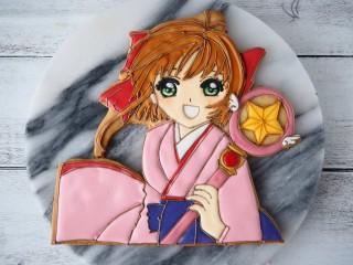 上岡さんが作ったアイシングクッキー「カードキャプラーさくら」