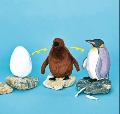 オウサマペンギン3変化ぬいぐるみ。ひとつのぬいぐるみが3種類に変化する