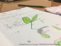 平面のノートに描かれた双葉。撮影する角度によって立体に!制作・写真/Mozu