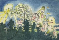 「平成狸合戦ぽんぽこ」イメージボード(C)1994 畑事務所・Studio Ghibli・NH=『高畑勲展─日本のアニメーションに遺したもの』東京国立近代美術館で開催中(7月2日〜10月6日)