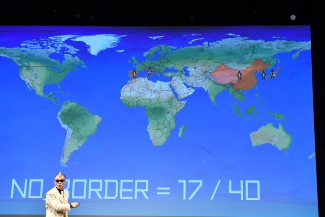 スキャンされた観客の出身地がスクリーンに示される