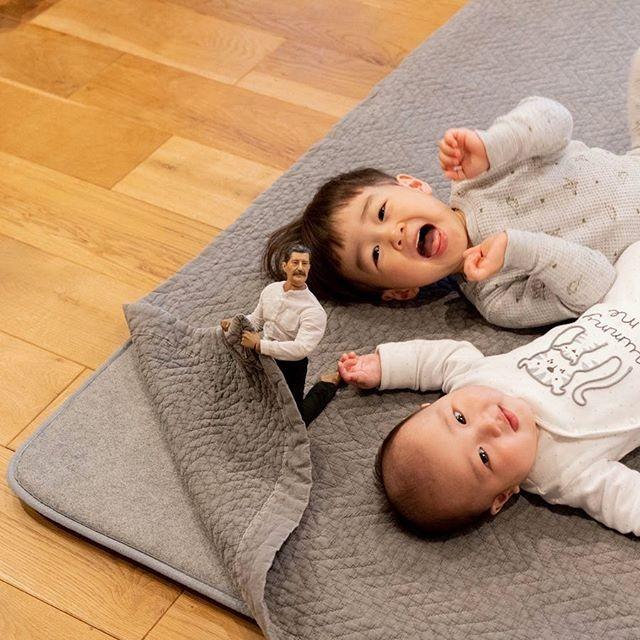 たろ(2歳)、じろ(0歳)と小さいおじさん(ミフネさん&ヨシダさん)の日常